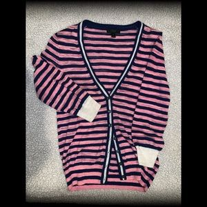 J. CREW Pink and Navy Blue Striped Cardigan ❄️